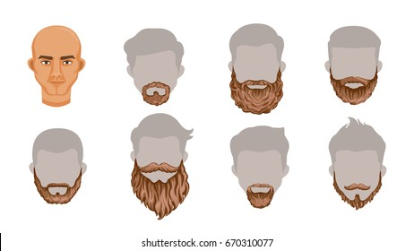 set of stylish beard and brown mustache collection.Variety and Creatively. Simple to apply to your work.Vector illustration, Body parts or Puppet head Charming Isolated on white background.