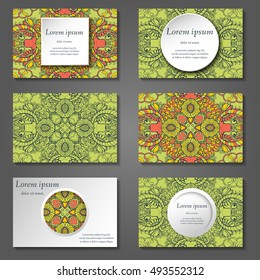 Set of stylish business card template. Abstract floral pattern and ornaments, ottoman motifs. Front and back page.