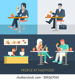 Set of stylish businessman businesswoman manager secretary stylish casual couple sitting fastfood table. Flat people lifestyle situation fast food cafe restaurant meal time concept. Creative human.