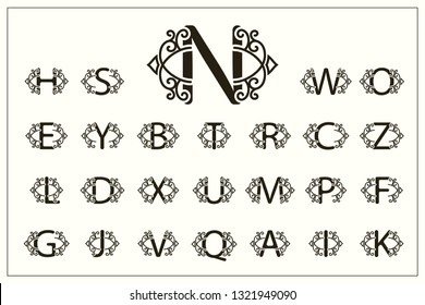 Set of Stylish Capital Letters. Vintage Logos. Filigree Monograms. Beautiful Collection. English Alphabet. Simple Drawn Emblems. Graceful Style. Design of Calligraphic Insignia. Vector Illustration