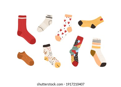 Set of stylish cotton and woolen socks with different drawings, patterns, colors and design. Collection of cute winter footwear isolated on white background. Colorful flat textured vector illustration