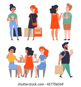 Set of stylish flat characters. People in the shopping and coffee, boys and girls with the packages. Sales, and shopping.