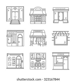 Set of stylish flat line design vector icons for commercial buildings facade. Showcase and storefronts. Elements of web design for business and site.