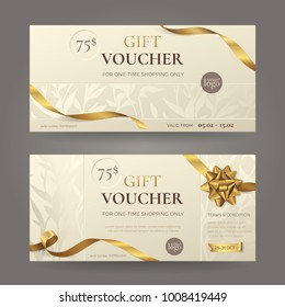 Set of stylish gift voucher with golden ribbons, a bow and floral patterns. Vector elegant  template for gift card, coupon and certificate with beige background. Isolated from the background.