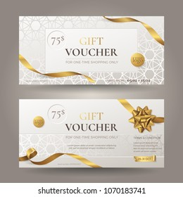 Set of stylish gift voucher with golden ribbons, a realistic bow and ornamental patterns. Vector elegant template for gift card, coupon and certificate. Isolated from the background.