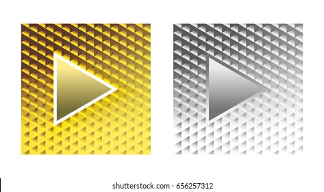 Set of stylish glamor play buttons on a brilliant gold and silver background from reflecting triangles