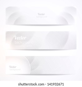 Set of stylish grey vector headers or banners.