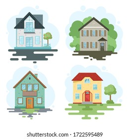 Set stylish house against the sky and other elements of the environment. House in a flat style. Vector illustration