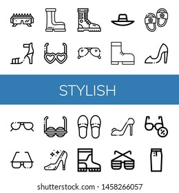 Set of stylish icons such as Sunglasses, High heel, Boots, Boot, Sunhat, Slippers, High heels, Pencil skirt , stylish