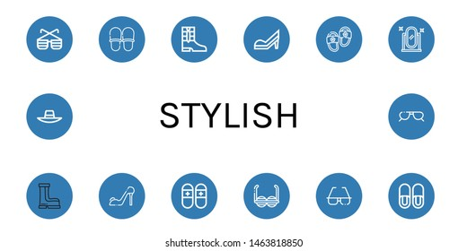 Set of stylish icons such as Sunglasses, Slippers, Boots, High heels, Full length mirror, Sunhat , stylish