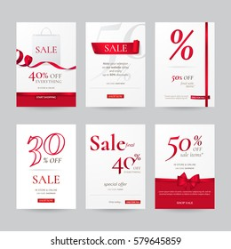 Set of stylish sale banners with red bow, ribbon and paper shopping bag. Vector template for discounts offered on the website. Isolated from the background