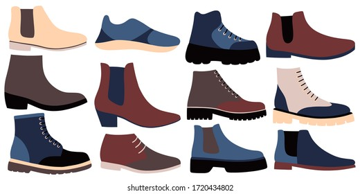 Set of stylish shoes of different types. Colorful flat vector drawing.