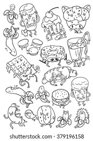 set of stylish stickers. different characters. emotional and cute fast food. isolated for you design. living food
