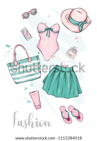 62ccf2670f79f0 A set of stylish summer clothes and accessories. Skirt, swimsuit, shoes,  hat, sunblock, beach bag and sunglasses, perfume and lipstick. Vector  illustration ...