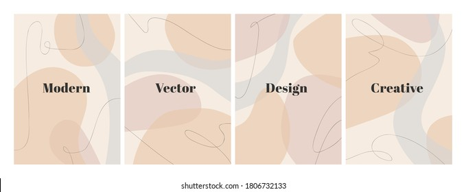 Set of stylish templates with organic abstract shapes and line in nude colors. Pastel background in minimalist style. Contemporary vector Illustration