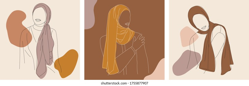 Set of Stylish and Trendy Hijab Woman Hand-Drawn. Elegant Faceless Fashion Hijab Girl Perfect for Social Media Template and Wallpaper.