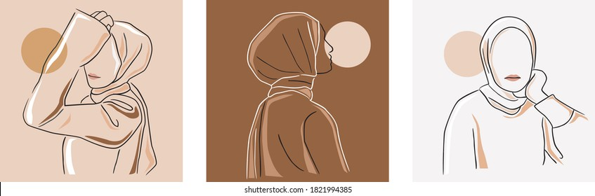Set of stylish and trendy hijab woman hand-drawn. Modern abstract faces fashion hijab girl perfect for social media template and wallpaper.