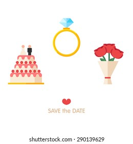 Set of stylish vector icons. Save the date concept. Wedding design elements for invitation