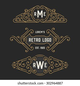 The set of stylish vintage logo and monogram emblem templates. Elegant retro frames ornament design. Vector illustration.