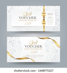 Set of stylish white gift vouchers with golden ribbons, bow and silver vintage floral pattern. Vector elegant template for gift cards, coupons and certificates isolated from background.