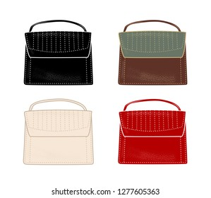 Set of stylish women's handbags in different colours. Flat illustration.