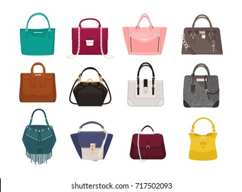 Set of stylish women's handbags - tote, shopper, hobo, bucket, satchel and pouch bags. Trendy leather accessories of different types isolated on white background. Colorful vector illustration.