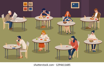 Set of stylish young boy girl businessman, figures sitting fast food table. Flat people lifestyle situation fast food cafe restaurant meal time concept. Creative human collection. Vector flat style.
