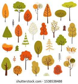 Set of stylistic trees. Trees forest simple plant silhouette icon. Hand drawn isolated illustrations