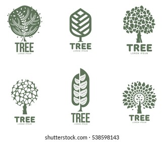 Set of stylized abstract graphic tree logo templates, vector illustration isolated on white background. Collection of creative tree logotype templates, environment, nature, growth, development concept