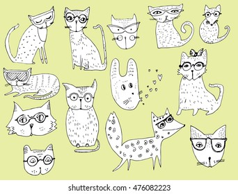 Set of stylized animals. Cartoon Animals. Children's art. Black and white drawing by hand. Line art. Doodle.