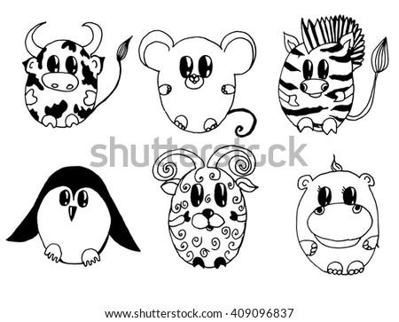 Vector Line Art Animals : Set stylized animals cartoon childrens stock vector