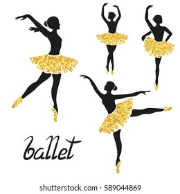 Set of of stylized ballerinas in black and golden colors. Vector poses of ballet.