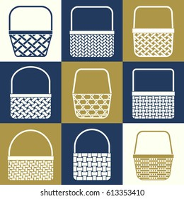 Set of stylized baskets with different weaves for shopping