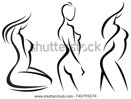 Set Stylized Beautiful Women Silhouettes Vector Stock Vector