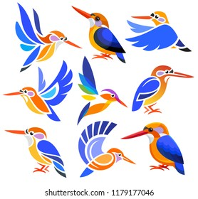 Set of Stylized Birds - African Dwarf Kingfisher in different styles