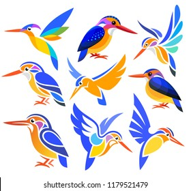 Set of Stylized Birds - African Pygmy Kingfisher in different styles