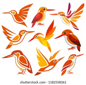 Set of Stylized Birds - Madagascar Pygmy Kingfisher in different styles