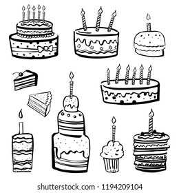 Set of stylized birthday cakes nd tarts. Hand drawn cartoon vector black and white sketch illustration isolated on white background