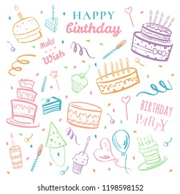 Set of stylized birthday elements. Cakes, balloons, wishes and decorations. Hand drawn cartoon vector colorful sketch illustration isolated on white background