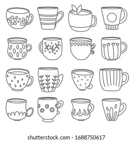 A set of stylized black and white cups, graphics. Suitable for office decoration, textiles, can be used for making patterns, can be used as a self-print