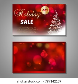 Set of stylized Christmas tree invitation, flyer, sale, discont card template. Merry Christmas decorative bokeh background. Use for internet sites, gift cards, flyers, presentations. Front, back page