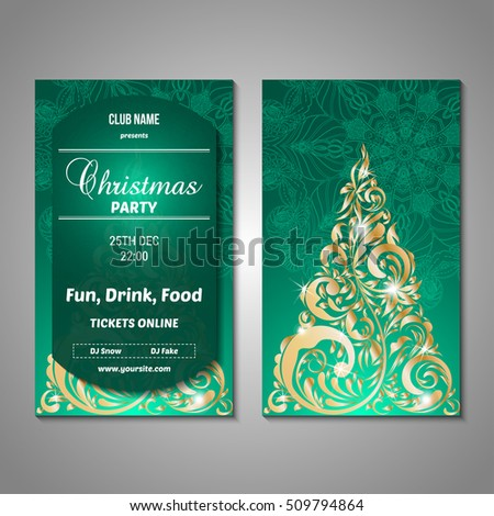 Set Stylized Christmas Tree Invitation Flyer Stock Vector Royalty