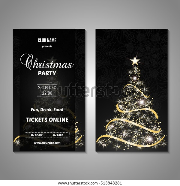 Christmas Images Free To Use.Set Stylized Christmas Tree Invitation Flyer Stock Vector