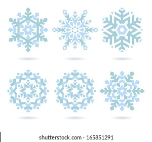 set of stylized color vector snowflakes symbols
