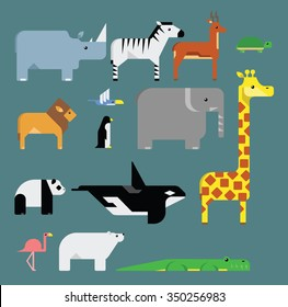 Set of stylized endangered animals vector illustrations.