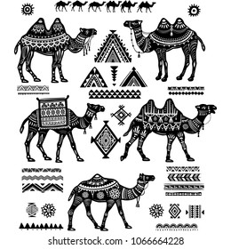 Set of stylized figures of Camels and ornament