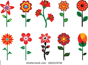 Set of stylized flowers collection. Various stylized flowers isolated on white background. Vector illustration.