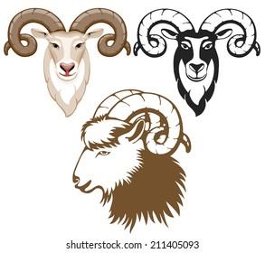 Set of stylized goats head. Goat - symbol of year 2015.