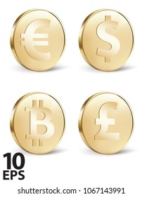 Set of stylized golden coin with currency symbols: dollar, euro, pound and bitcoin signs. Vector 3d illustration
