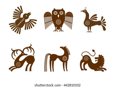 Set of stylized graphic of brown images on a white background in tribal style with a small number of patterns: birds, horse, deer and lion.